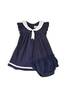Baby girls sailor collar dress w knicker