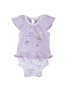 Baby girls shortsleeve mock tee bodysuit