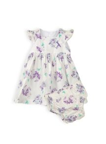 Baby girls square neck dress with knicker
