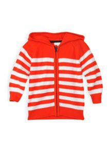 Boys reverse stripe hooded knit jumper