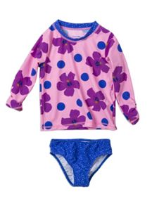 Girls longsleeve hibiscus rash set