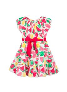 Girls fruit print tiered dress