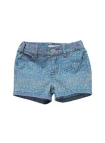 Girls print denim shorts