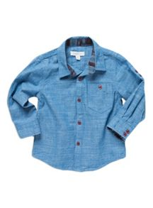 Boys chambray ls shirt with aztec pocket