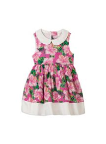 Girls super pink floral dress