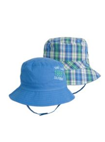 Boys check reversible hat