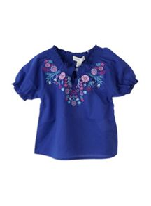 Girls border floral woven top