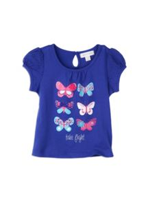 Girls girls anglaise butterfly print top
