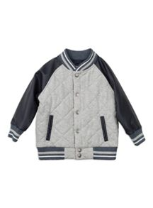 Boys Mock Leather Quilted Jacket