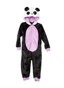 Girls Panda Fluffy All-In-One