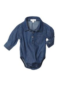 Baby Boys Denim Long Sleeve Bodysuit