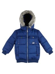 Boys Fur Trim Padded Puffer Jacket