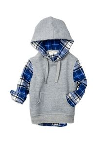 Boys Fleece Sweat With Mock Check Shirt