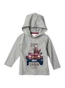 Boys Hooded Raglan Tee With Print