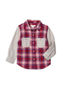 Pumpkin Patch Boys Check Flannel Shirt W Contrast Slv