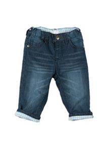 Baby Boys Check Trim Jeans