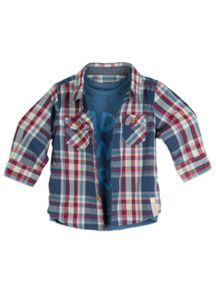 Boys Check Shirt with Mock Tee