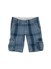 Boys Yarn Dyed Check Cargo Short