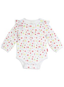 Girls Rose Print Long Sleeve Bodysuit