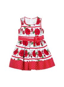 Girls Rose Stripe Print Dress