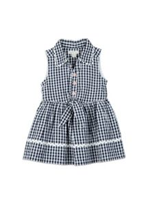 Girls Gingham Waist tied Dress