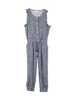 Girls Gingham Full Length jumpsuit