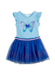 Girls Sequin Butterfly Tulle Dress