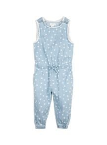 Girls Chambray Heart Jumpsuit
