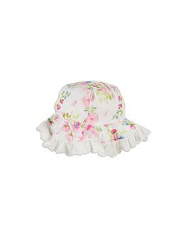 Girls Broiderie Trim Hat
