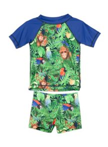 Pumpkin Patch Boys Bird Print Rash and Short Set
