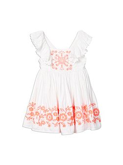 Girls Neon Embroidered Dress