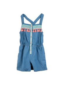Pumpkin Patch Girls Chambray Trim jumpsuit