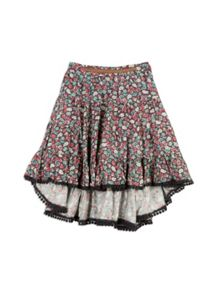 Pumpkin Patch Long Tiered Floral Skirt