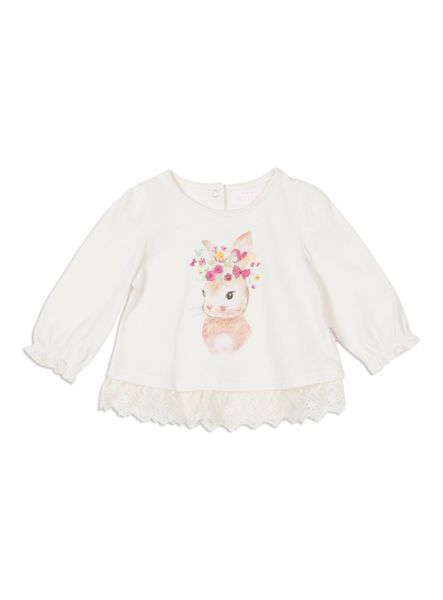 Pumpkin Patch Bunny Lace Edged Top