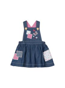 Pumpkin Patch Patchwork Denim Pinnie
