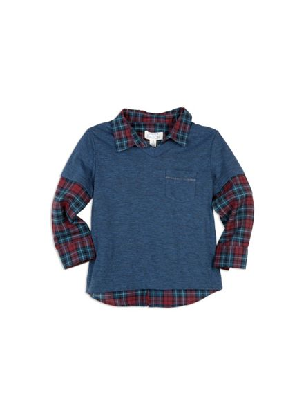 Pumpkin Patch Tee with Mock Check Shirt