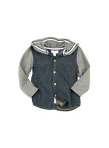 Pumpkin Patch Denim Shirt Knit Sleeves