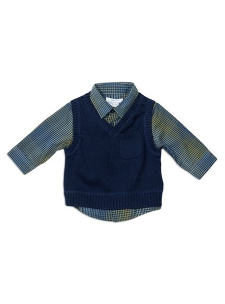 Pumpkin Patch Vest With Mock Check Shirt