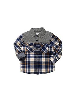 Spliced Check Shirt Jacket