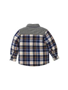 Pumpkin Patch Spliced Check Shirt Jacket