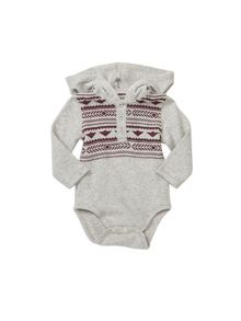 Pumpkin Patch Blanket Print Hooded Bodysuit