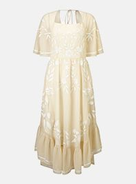 Miss Selfridge Nude Fluted Sleeve Dress