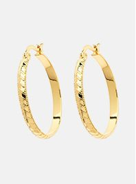 Monet Gold Stripe Hoop Earrings