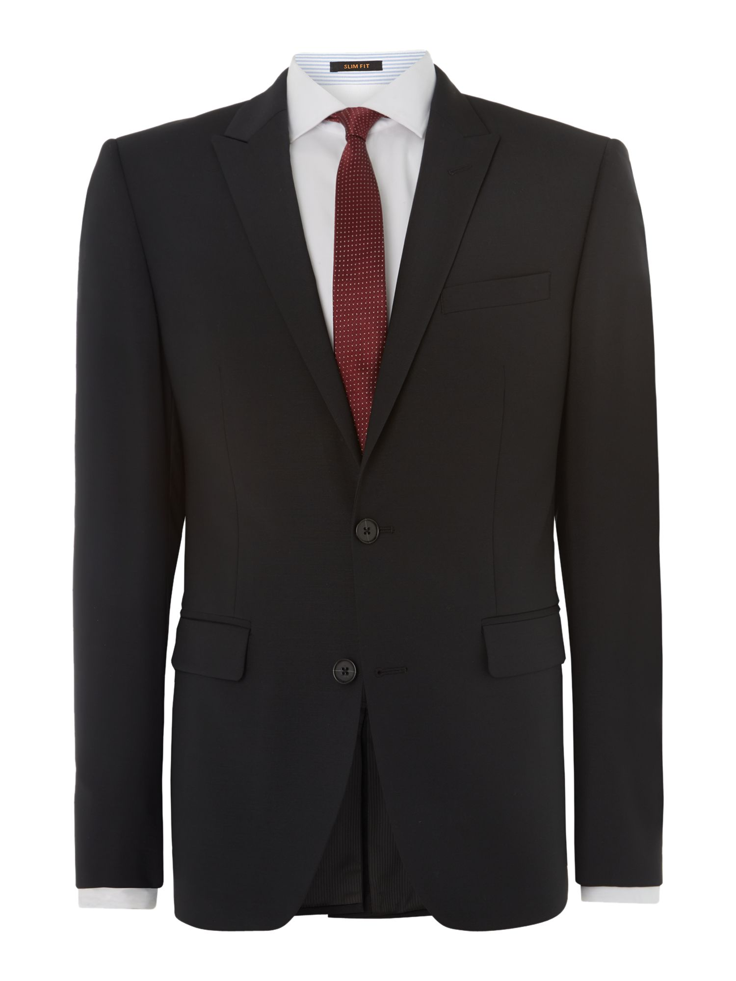 Solid fit suit with peak lapels
