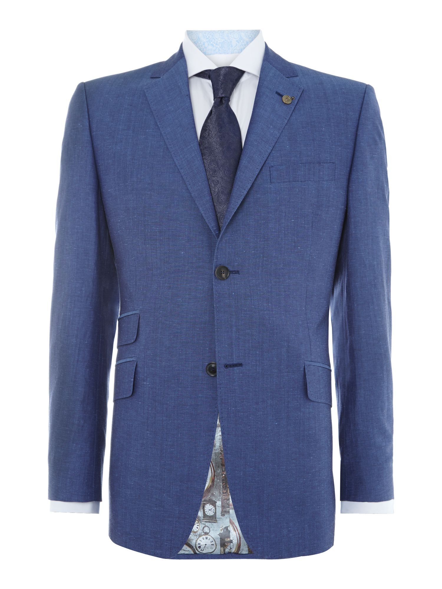 Siga regular fit linen mix suit