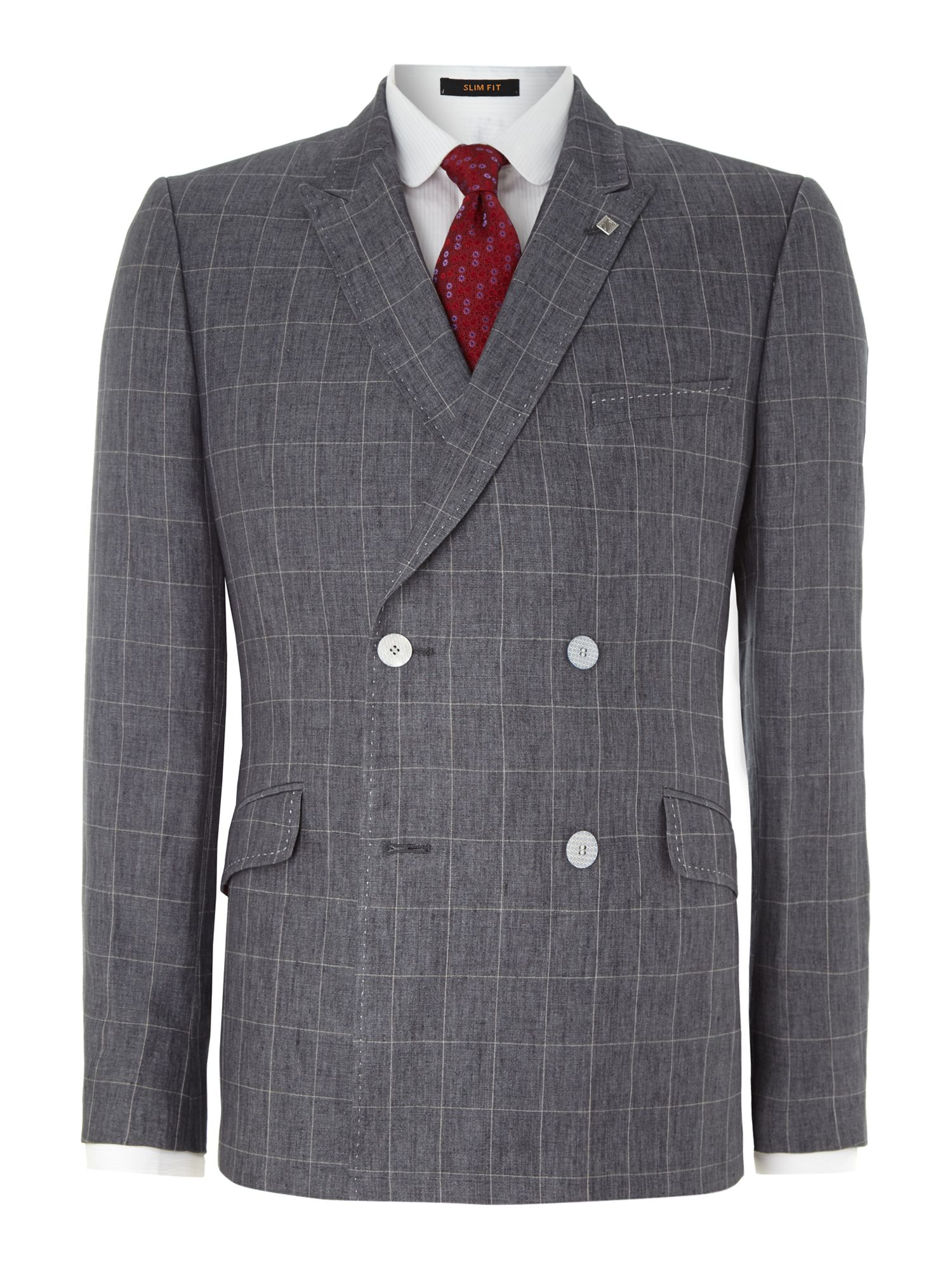 Pie slim fit double breasted check suit