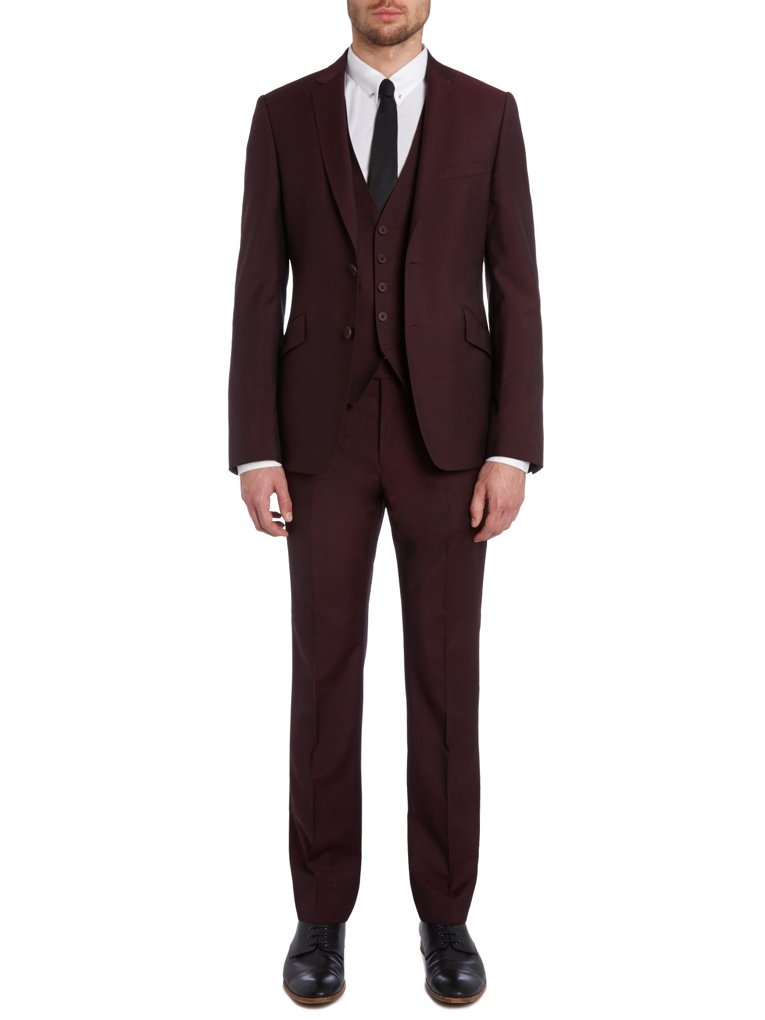 Linout extra slim solid three piece suit