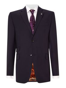 Banyan regular fit purple pindot suit