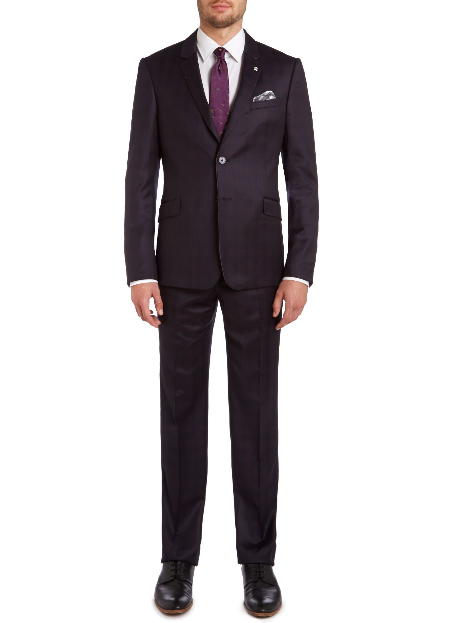 Warhol slim fit check satin piping suit