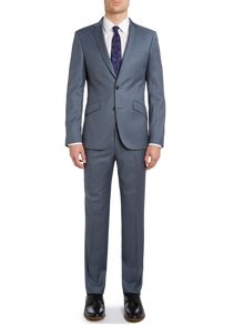 Contrast twill slim fit suit